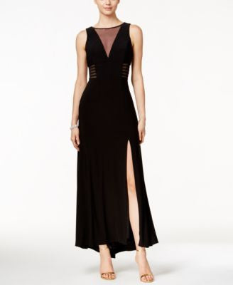 Nightway Sleeveless Illusion-Mesh Fit & Flare Gown