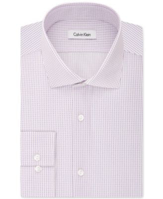 Calvin Klein Men's Fitted Infinite-Stretch Purple Haze Dot-Pattern Dress Shirt