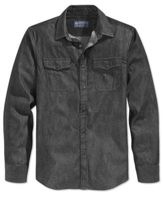 American Rag Men's Denim Long-Sleeve Shirt, Only at Vogily