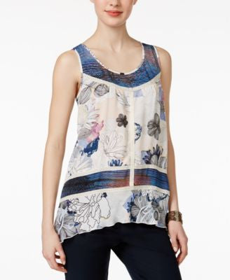 Cable & Gauge Floral-Print Handkerchief-Hem Top