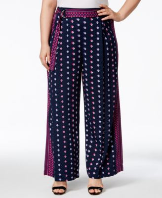 Jessica Simpson Plus Size Kegan Belted Geo-Print Palazzo Pants