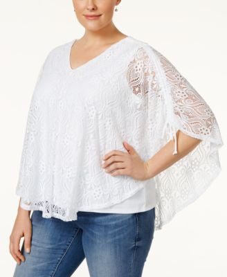 Style & Co. Short-Sleeve Lace Poncho Blouse, Only at Vogily