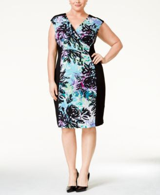 Connected Plus Size Floral-Print Surplice Sheath Dress
