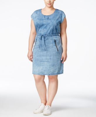 Junarose Plus Size Stonewash Chambray Shirtdress
