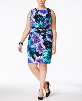 Connected Plus Size Sleeveless Belted Sheath Dress