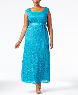 R & M Richards Plus Size Cap-Sleeve Lace Gown