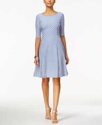 Jessica Howard Printed Elbow-Sleeve Fit & Flare Dress