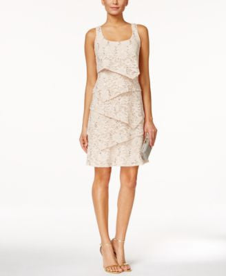 Ronni Nicole Tiered Sequined Lace Sheath Dress