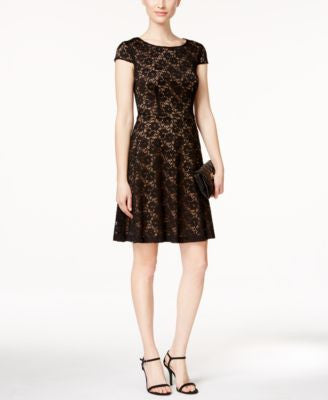 Connected Lace Cap-Sleeve Fit & Flare Dress