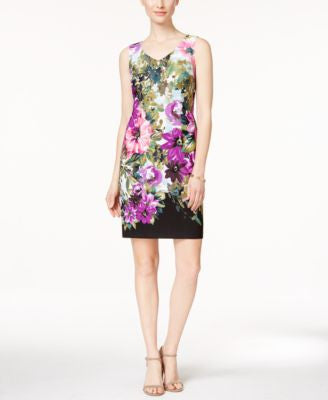 Connected Sleeveless Floral-Print Sheath Dress