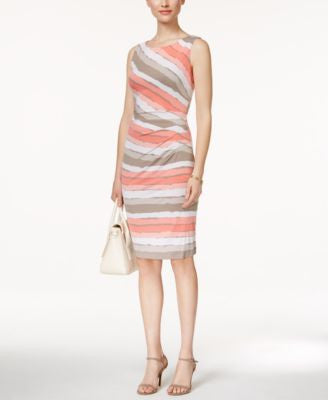 Connected Sleeveless Striped Sheath Dress
