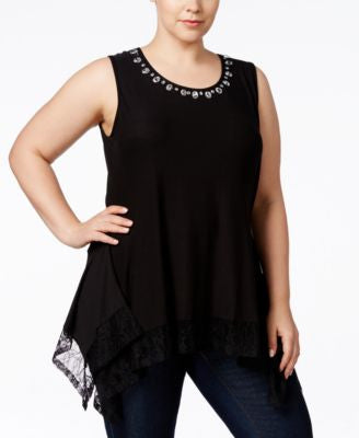 Belldini Plus Size Embellished Lace-Hem Top