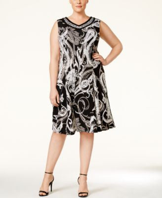 JM Collection Plus Size Printed Embellished Shift Dress, Only at Vogily