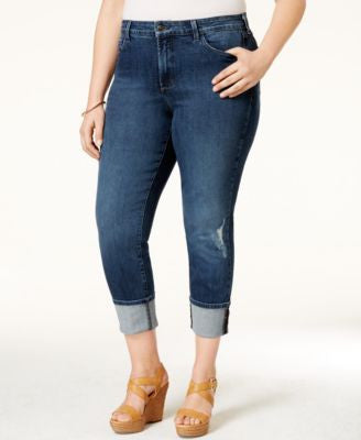 NYDJ Plus Size Lorenna Destructed Redding Wash Boyfriend Capri Jeans