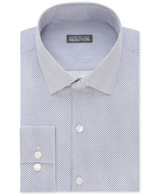 Kenneth Cole Reaction Men's Slim-Fit Navy Dot-Pattern Dress Shirt