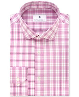 Ryan Seacrest Distinction Men's Slim-Fit Non-Iron Orchid Plaid Dress Shirt, Only at Vogily
