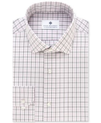 Ryan Seacrest Distinction Men's Slim-Fit Non-Iron Purple Tattersall Dress Shirt, Only at Vogily