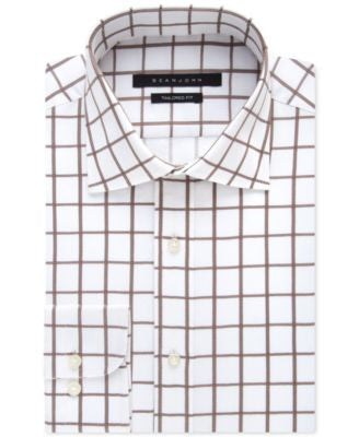 Sean John Men's Classic-Fit Camel Grid-Pattern Dress Shirt