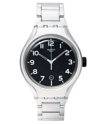 Swatch Unisex Swiss Irony Xlite Silver-Tone Bracelet Watch 49mm YES4011AG