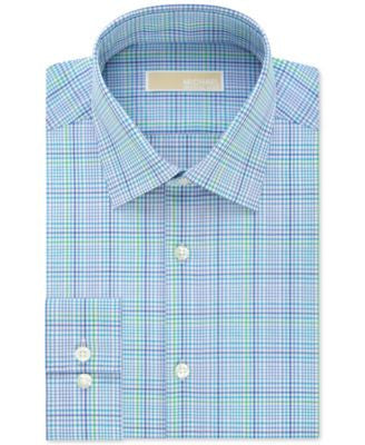 MICHAEL Michael Kors Men's Slim-Fit Non-Iron Aquamarine Check Dress Shirt