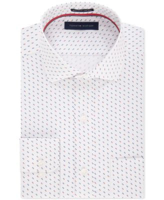 Tommy Hilfiger Men's Classic-Fit Non-Iron Red and Blue Dot-Pattern Dress Shirt