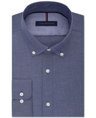 Tommy Hilfiger Men's Slim-Fit Non-Iron Indigo Chambray Dress Shirt