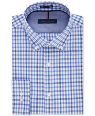 Tommy Hilfiger Men's Slim-Fit Non-Iron English Blue Check Dress Shirt