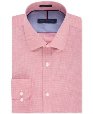 Tommy Hilfiger Men's Slim-Fit Non-Iron Cayenne Gingham Dress Shirt