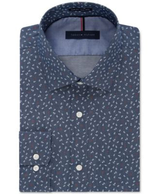 Tommy Hilfiger Men's Slim-Fit Non-Iron Midnight Blue Anchor-Print Dress Shirt