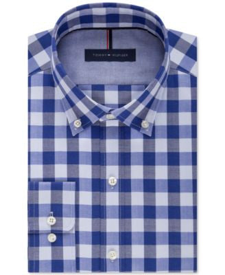 Tommy Hilfiger Men's Slim-Fit Non-Iron Blue Velvet Check Dress Shirt