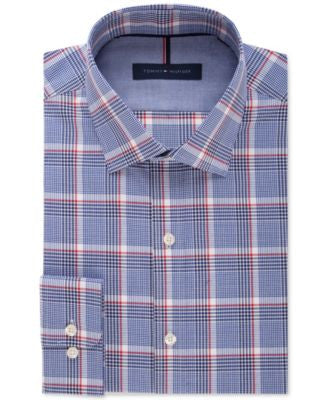 Tommy Hilfiger Men's Slim-Fit Non-Iron Blue Plaid Dress Shirt