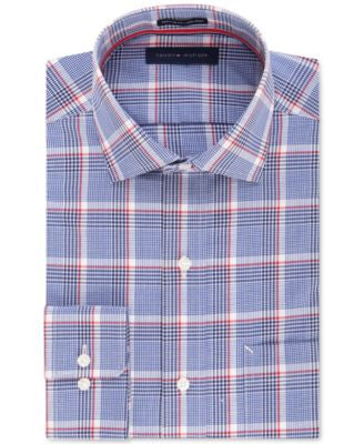 Tommy Hilfiger Men's Big & Tall Non-Iron Blue Multi-Check Dress Shirt