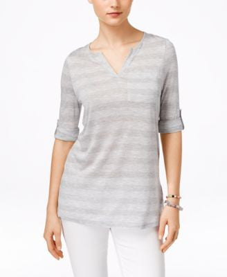 G.H. Bass & Co. Three-Quarter-Sleeve Striped Top