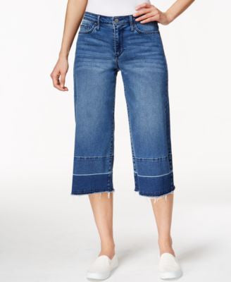 Calvin Klein Jeans Cropped Destroyed Cobalt Wash Wide-Leg Jeans