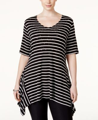 Belldini Plus Size Striped Rhinestone Top