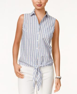 Tommy Hilfiger Sleeveless Printed Tie-Front Shirt
