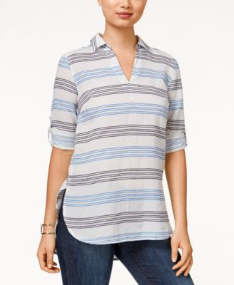 Tommy Hilfiger Katey Striped Button-Side Tunic Top