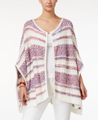 Tommy Hilfiger Elise Striped Mixed-Stitch Poncho Sweater