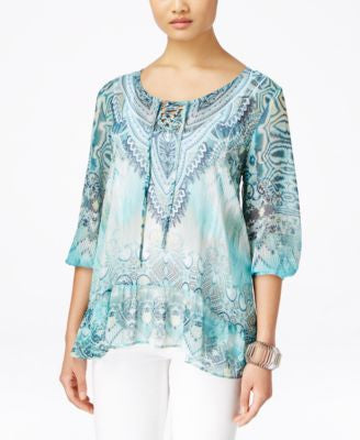 Style & Co. Petite Printed Layered Blouse, Only at Vogily