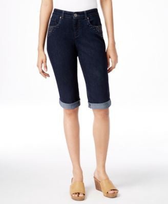Style & Co. Petite Embellished Curvy-Fit Denim Bermuda Shorts, Only at Vogily