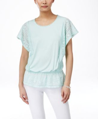 Style & Co. Petite Lace-Panel Peplum Top, Only at Vogily