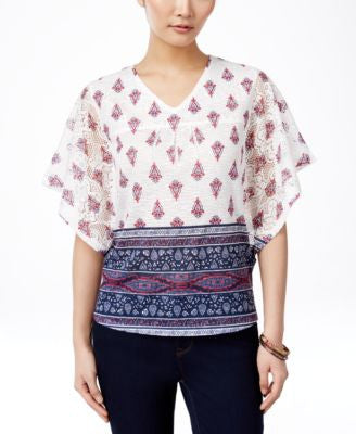 Style & Co. Butterfly-Sleeve Printed Top, Only at Vogily