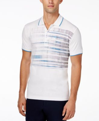 BOSS Green Men's Pleecell Graphic-Print Optic Stripe Polo