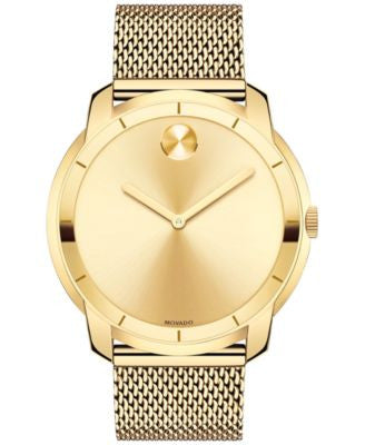 Movado Men's Swiss Bold Gold-Tone Ion-Plated Stainless Steel Mesh Bracelet Watch 44mm 3600373