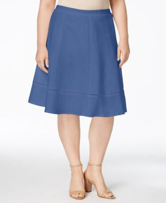 NY Collection Plus Size Ladder-Stitched Swing Skirt