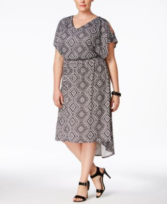 NY Collection Plus Size Cold-Shoulder Blouson Dress