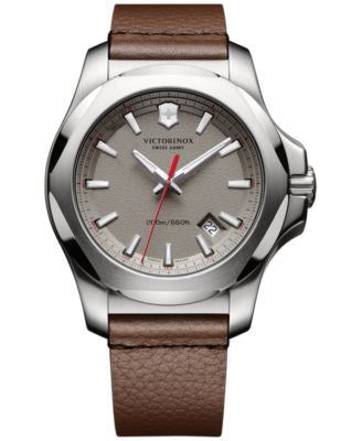 Victorinox Swiss Army Men's Swiss I.N.O.X. Brown Leather Strap Watch 43mm 241738.1