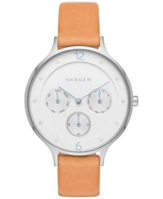 Skagen Women's Chronograph Anita Natural Leather Strap Watch 36mm SKW2449