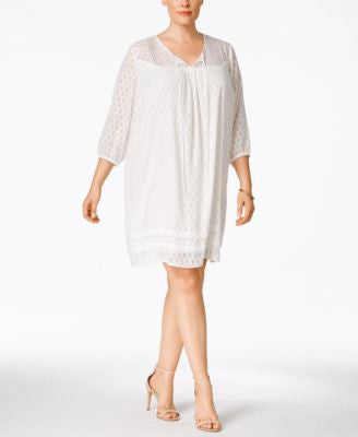 NY Collection Plus Size Lace-Yoke Peasant Dress