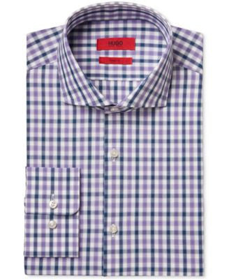 HUGO Men's Slim-Fit Light Purple Check Dress Shirt